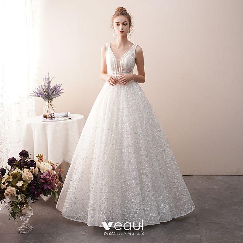 8ff35274c1 Suknie Ślubne V-Szyja z veaul