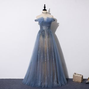 Best Ocean Blue Evening Dresses  2019 A-Line / Princess Off-The-Shoulder Beading Short Sleeve Sequins Floor-Length / Long Ruffle Backless Formal Dresses