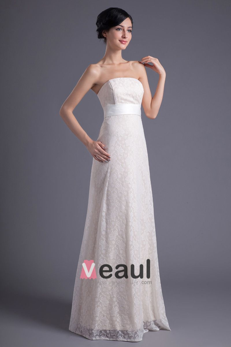 Fashion Lace Strapless Floor Length Brush Train Empire Wedding Dress