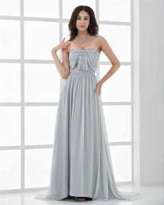 Longueur De Plancher D'amoureux Elegant Perlage Robes De Celebrites Mousseline De Soie Plissee