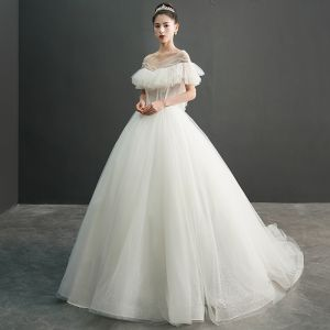Modern / Fashion Ivory See-through Wedding Dresses 2019 Ball Gown Scoop Neck Short Sleeve Backless Beading Spotted Tulle Chapel Train Ruffle