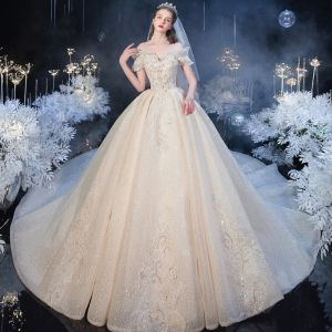 Luxury / Gorgeous Champagne Bridal Wedding Dresses 2020 Ball Gown Off-The-Shoulder Short Sleeve Backless Glitter Tulle Beading Cathedral Train Ruffle