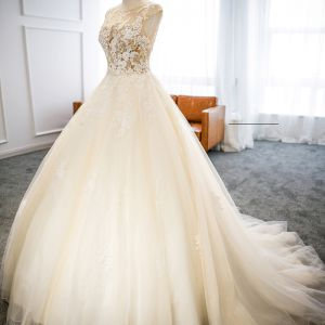 Chic / Beautiful Champagne Wedding Dresses 2018 Ball Gown Lace Flower Scoop Neck Backless Sleeveless Court Train Wedding