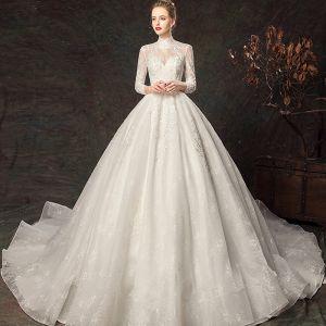 Elegante Ivory / Creme Brautkleider / Hochzeitskleider 2019 Ballkleid Stehkragen Spitze Blumen 3/4 Ärmel Rückenfreies Königliche Schleppe