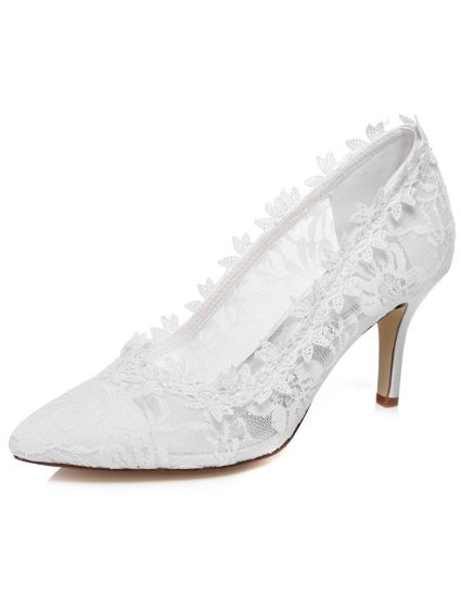 Schone Spitze Brautschuhe 8cm Stilettos Weiss Hochzeitsschuhe