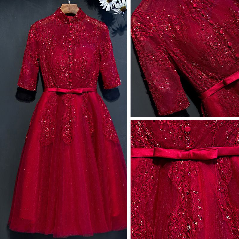 Chic / Beautiful Red Graduation Dresses 2017 A-Line / Princess Lace Flower Beading Bow Sequins High Neck 1/2 Sleeves Short Formal Dresses
