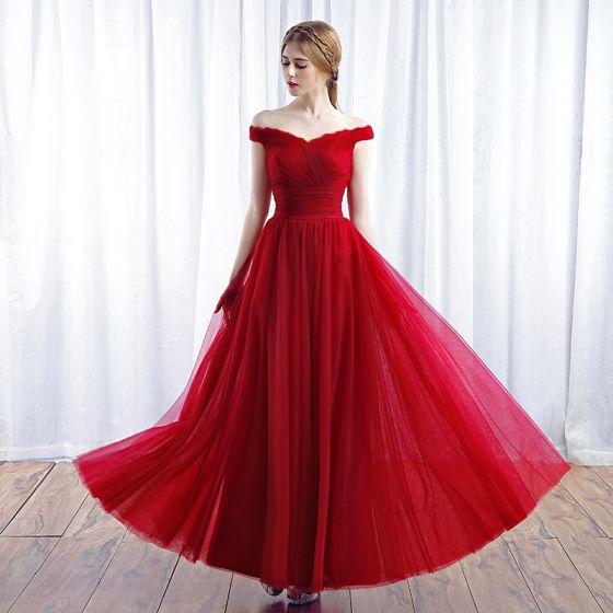 Chic / Beautiful Red Evening Dresses  2017 A-Line / Princess Off-The-Shoulder Crossed Straps Backless Sleeveless Ankle Length Evening Party