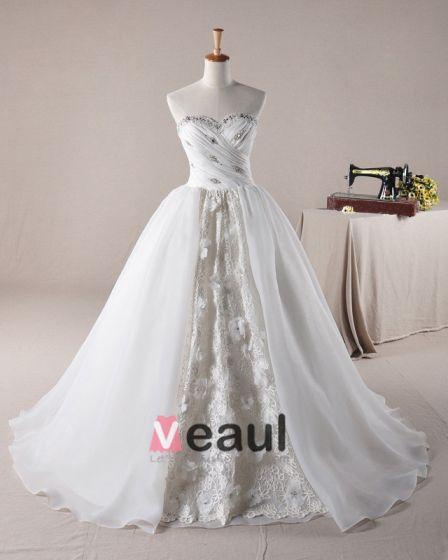 Rüschen Applique Schatz Laceworks Organza A Linie Hochzeitskleid