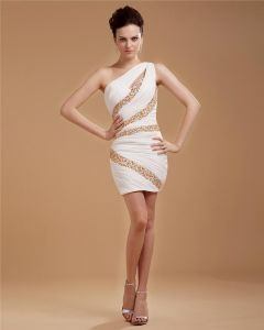 Sheath Chiffon Beading One Shoulder Mini Cocktail Dress