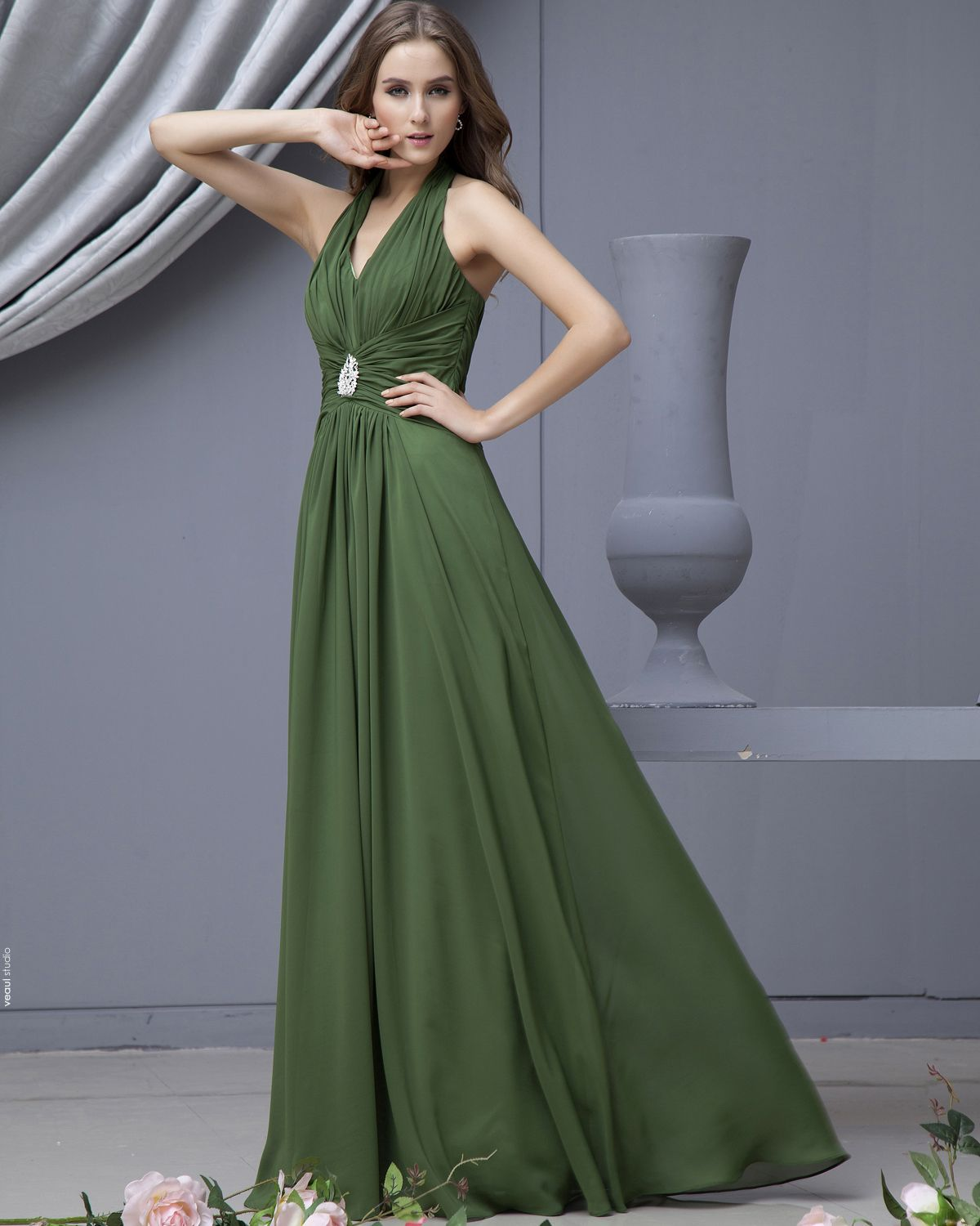 Chiffon Sash V Neck Floor Length Bridesmaid Dresses