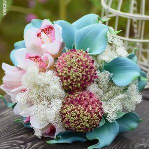 Cymbidium Calla Spitze Brautsträuße Halten Blumen Brautstrauß