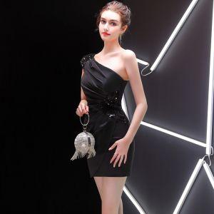 Sexy Noire Robe De Soirée 2019 Une épaule Paillettes Courte Dos Nu Sans Manches Robe De Ceremonie