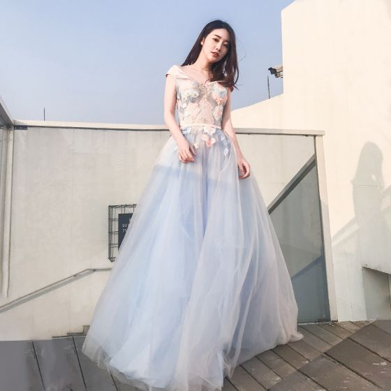 Elegant Sky Blue Evening Dresses  2018 A-Line / Princess Off-The-Shoulder Short Sleeve Appliques Lace Sash Floor-Length / Long Ruffle Backless Formal Dresses