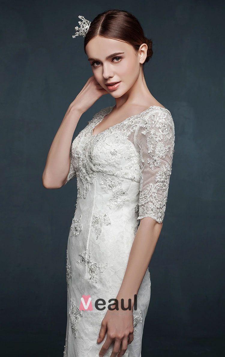 2015 V-ausschnitt Langen Ärmeln Dünne Dünne Spitze Fischschwanz Hochzeitskleid