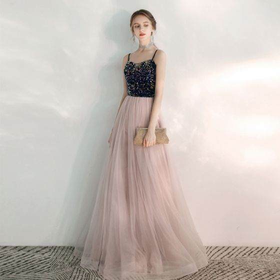 Elegant Blushing Pink Evening Dresses  2020 A-Line / Princess Spaghetti Straps Sleeveless Sequins Beading Floor-Length / Long Ruffle Backless Formal Dresses