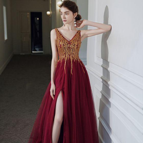 High-end Red Prom Dresses 2020 A-Line / Princess V-Neck Sleeveless Beading Sequins Split Front Floor-Length / Long Ruffle Backless Formal Dresses
