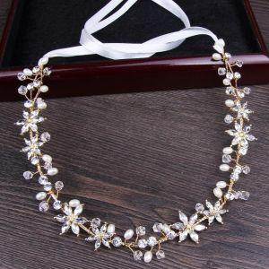Eenvoudige Goud Haaraccessoires 2018 Metaal Kristal Parel Lace-up Accessoires