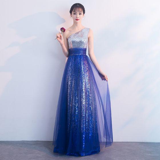 Sparkly Royal Blue Evening Dresses  2018 A-Line / Princess Sequins One-Shoulder Sleeveless Backless Floor-Length / Long Formal Dresses