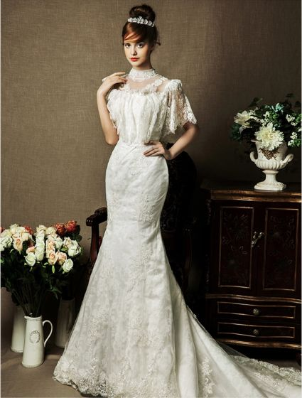 2015 Trumpet/ Mermaid Princess Sleeves Handmade Flowers Lace Wedding Dress