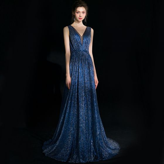 Elegant Navy Blue Evening Dresses  2018 A-Line / Princess Glitter V-Neck Backless Sleeveless Sweep Train Formal Dresses