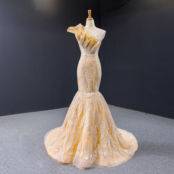 High-end Champagne Gold Evening Dresses  2020 Trumpet / Mermaid One-Shoulder Sleeveless Leaf Appliques Lace Sequins Chapel Train Backless Formal Dresses