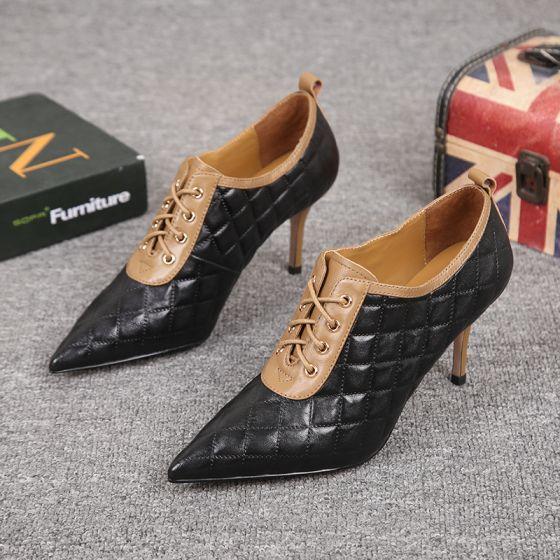 Mote Svart Oppnevning Lær Kvinners støvler 2021 Ankel 7 cm Stiletthæler Spisse Boots
