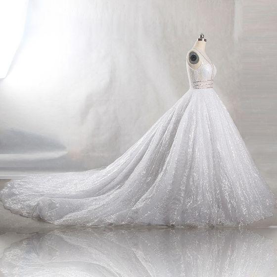 4f8e97140 Brillante Bling Bling Blanco Chapel Train Boda 2018 U-escote Tul Glitter  Rebordear Crystal Lentejuelas Ball Gown Vestidos De Novia