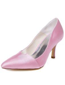 Vintage Roze Trouwschoenen Stilettos Hakken Pumps Satijnen Bruidsschoenen Wees Teen