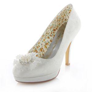Elegante Elfenbein Brautschuhe Stilettfersen Satin Hochzeit Pumps 10 Cm Hohen Absatz Mit Perle