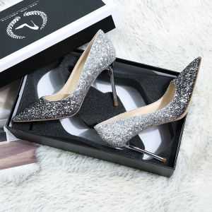 Sparkly Silver Black Wedding Shoes 2019 Leather Sequins 10 cm Stiletto Heels Pointed Toe Wedding Pumps