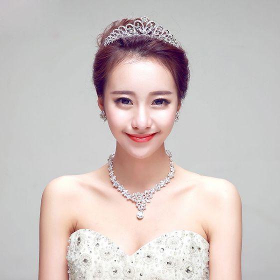 Diamond Bridal Necklace / Earrings / Tiara Three-piece
