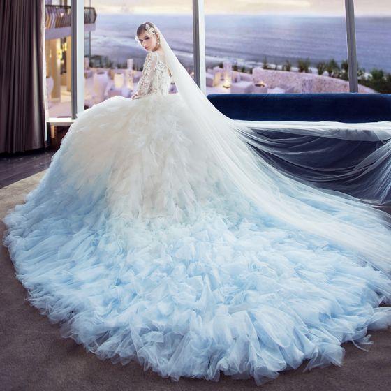 Único blanco degradado de color azul cielo traspasado vestidos de