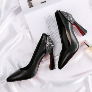 Chic / Beautiful Black Prom Pumps 2018 Rivet Sequins Leather 10 cm Thick Heels Pointed Toe Pumps