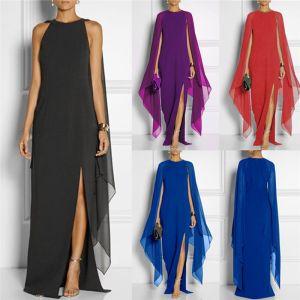 Chic / Belle Violet Robes longues Avec Châle 2018 Trompette / Sirène Fendue devant Encolure Dégagée Manches Courtes Longue Vêtements Femme
