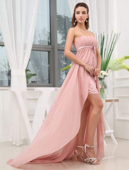 Empire Strapless Asymmetrical Sweep Train Chiffon Cocktail Dresses
