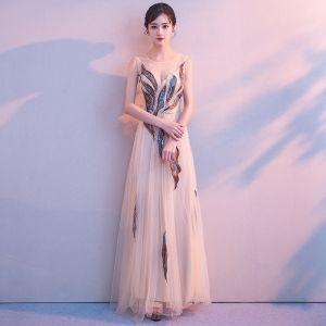 Najpiękniejsze / Ekskluzywne Beżowe Długie Sukienki Wieczorowe 2018 Princessa U-Szyja Tiulowe Bez Pleców Frezowanie Perła Cekiny Wieczorowe Sukienki Wizytowe