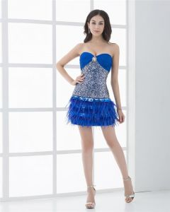 Sweetheart Thigh Length Beading Sequin Feathers Cocktail Dress