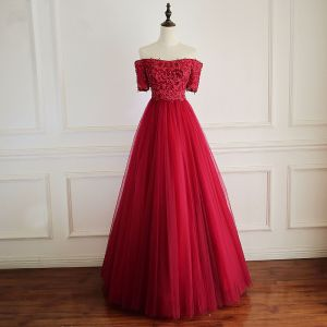 Chic / Beautiful Red Prom Dresses 2018 A-Line / Princess Crystal Beading Appliques Off-The-Shoulder Backless Short Sleeve Floor-Length / Long Formal Dresses