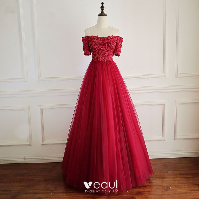 720d2d63bb Chic / Beautiful Red Prom Dresses 2018 A-Line / Princess Crystal Beading  Appliques Off-The-Shoulder Backless ...