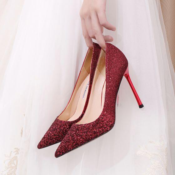 Brillante Borgoña Lentejuelas Zapatos de novia 2020 10 cm Stilettos / Tacones De Aguja Punta Estrecha Boda Tacones