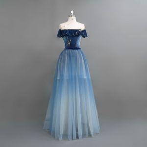 Moderne / Mode Bleu Marine Robe De Soirée 2018 Princesse Étoile Daim Noeud Encolure Dégagée Manches Courtes Longue Robe De Ceremonie