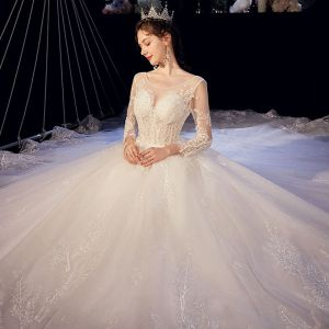 Illusion Ivory See-through Wedding Dresses 2020 A-Line / Princess Scoop Neck 3/4 Sleeve Backless Glitter Tulle Appliques Lace Beading Cathedral Train Ruffle