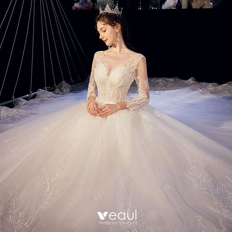 Illusion Ivory See Through Wedding Dresses 2020 A Line Princess Scoop Neck 3 4 Sleeve Backless Glitter Tulle Appliques Lace Beading Cathedral Train