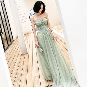 Illusion Green Evening Dresses  2019 A-Line / Princess Sweetheart Sleeveless Appliques Lace Beading Sweep Train Ruffle Backless Formal Dresses