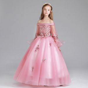Chic / Beautiful Candy Pink Flower Girl Dresses 2017 Ball Gown Off-The-Shoulder Long Sleeve Appliques Flower Floor-Length / Long Ruffle Wedding Party Dresses