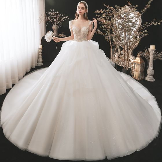 Illusion Champagne Bridal Wedding Dresses 2021 Ball Gown See-through Scoop Neck Short Sleeve Backless Sequins Beading Glitter Tulle Cathedral Train Ruffle