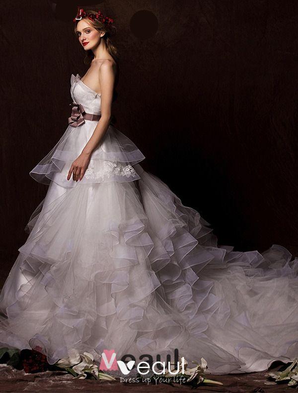 2015 A-line Strapless Satin Flower Sash Cascading Ruffles Wedding Dress