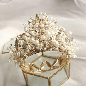 Fabelhaft Gold Diadem Hochzeit Brautaccessoires 2020 Metall Perlenstickerei Perle Strass Haarschmuck Braut