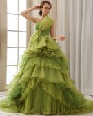 Elegant Solid Ruffle Bow A-Line Strapless Back Lace Up Court Train Organza Prom Dresses