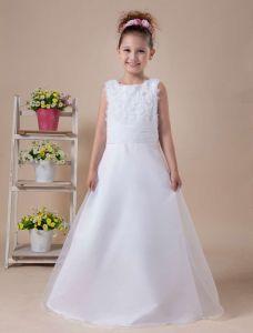 Blanc D'une A-ligne Sans Manches Appliques Robe Ceremonie Fille Robe Fille Mariage